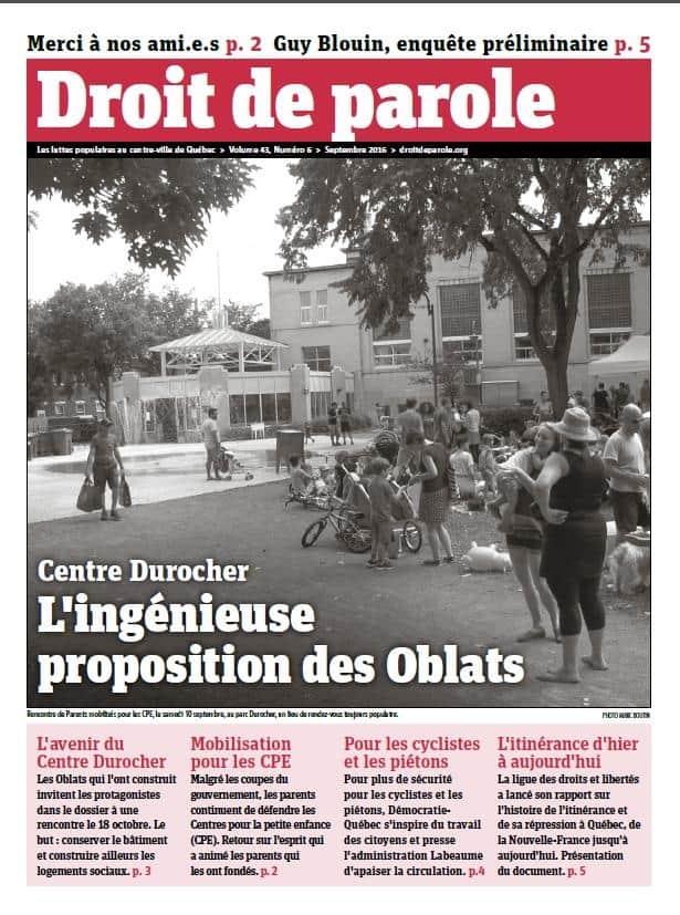 Droit de parole de septembre: les Oblats proposent une solution pour le Centre Durocher